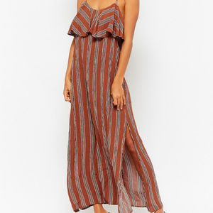 Forever 21 Striped Flounce Maxi Dress Size S